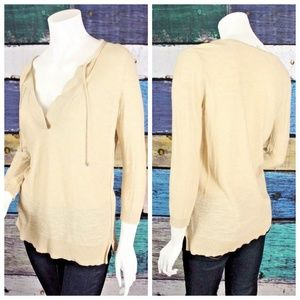 Ann Taylor LOFT Cream Lightweight Tie Sweater